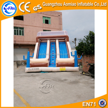 Double lane slip slide inflatable dry slide, giant inflatable trippo slide