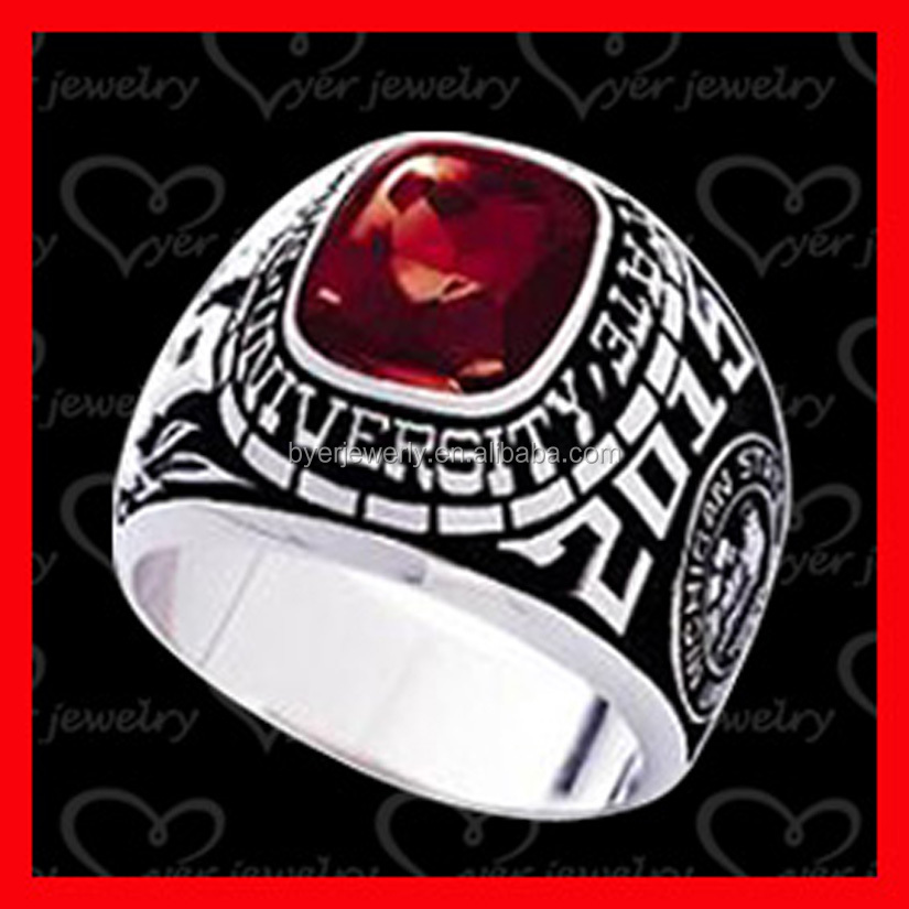 2016 Hot sale personalized jewelry class ring with AAA gemstone stone setting rings jewellery