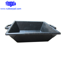 16L Chinese rubber feeding tub with two handles,square groove for feeding animals