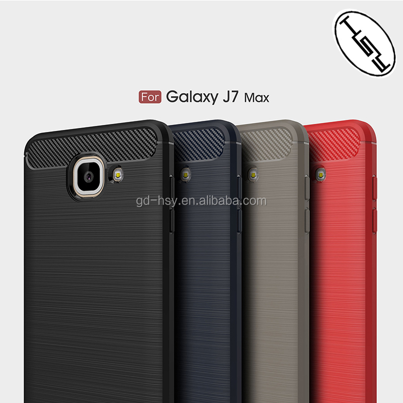 For Samsung Galaxy J7 Max Back Cover Soft Case Perfect Fit Real Phone/ Brushed Carbon Fiber Slim TPU Case for Samsung J7 Max