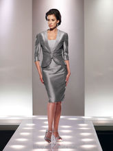 silver long sleeve knee length mother funky party dresses