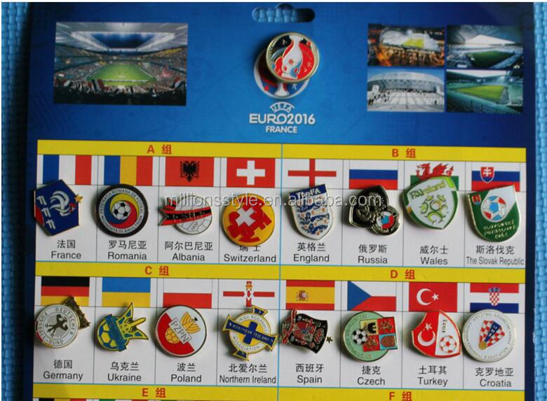Promotional wholesale cheap football pin badge sets for fans