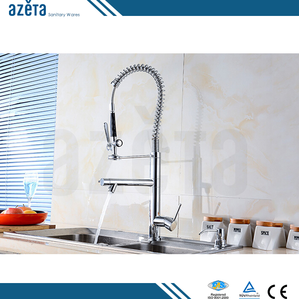Modern Sink Flexible Single Handle Pull Down Out Brass Kitchen Faucet