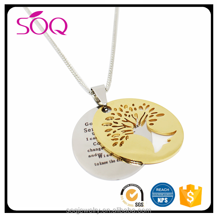 Europe style charm jewelry personalized round double pendant necklace tree life necklace steel