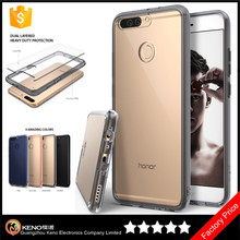 Keno Shockproof 2 in 1 PC + TPU Transparent Phone Case Thin for Huawei Honor 8 Pro / V9 Crystal Clear Case With Bumper