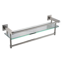 Bathroom tempered glass shelves, home decoration brushed