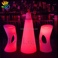 Elegant Tempering Glass led light round cocktail table for illuminated luxury wedding party