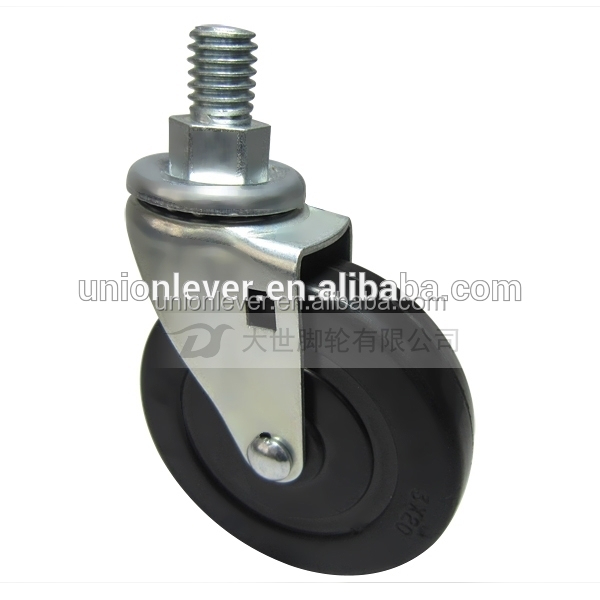 Screw type chair caster 3 inch wheel bolt type soft or hard rubber