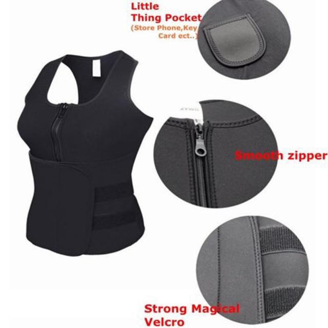 Fat Burn sauna Neoprene waist trimmer women body shaper With Vest