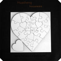 plain wooden jigsaw puzzle, kids educational toys,heart puzzle