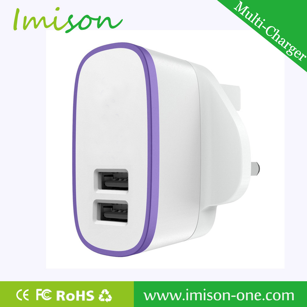 High Quality UK 3Pin Plug Power Adapter USB Wall Charger for samsung