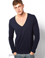 Fast delivery CVC v-neck dri fit long sleeve shirts wholesale