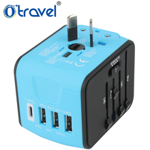 Colorful male to female electrical c type travel plug adapter
