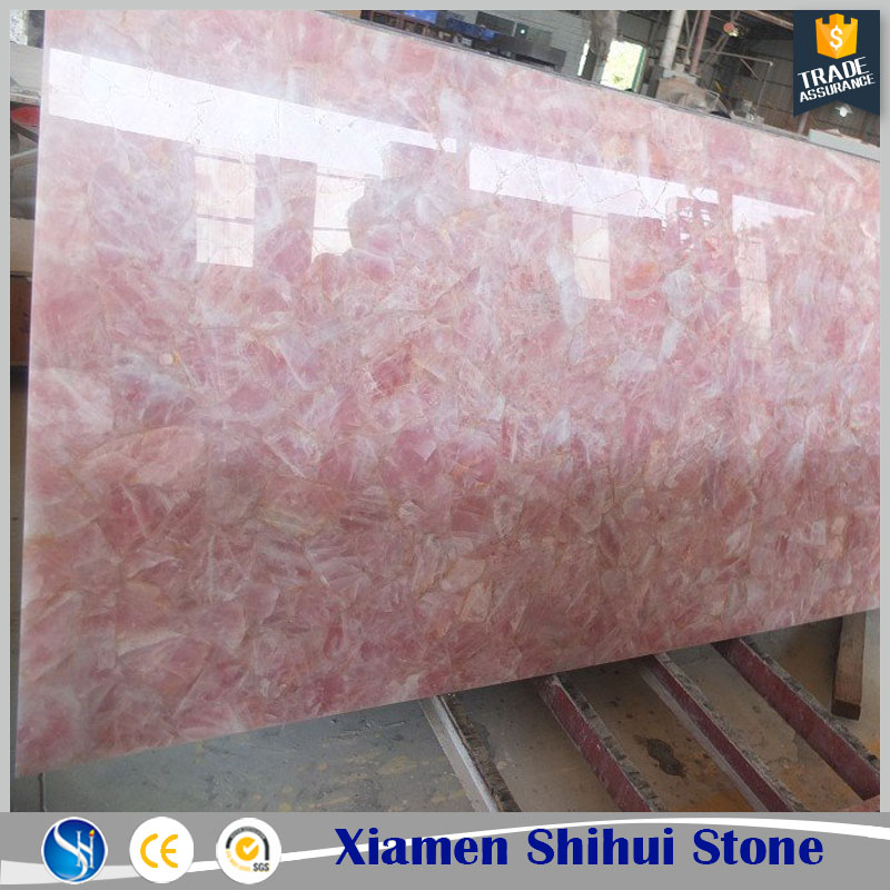Solid surface pink rose quartz stone countertops table top with fast delivery