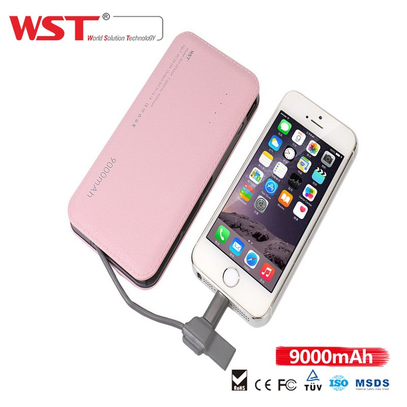 Wholesale high quality PU leather purse design built-in cable 2 in 1 function durable portable power bank