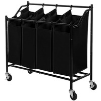 Heavy-Duty 4-Bag Rolling Laundry Sorter Storage Cart with Black Wheels
