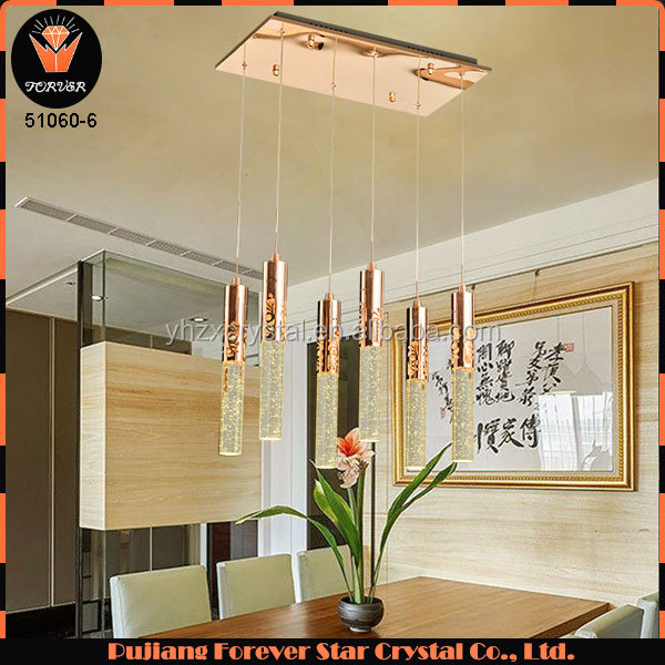Six head Italian style creative luxury flute water column LED K9 crystal bubble chandelier lighting for living room decor