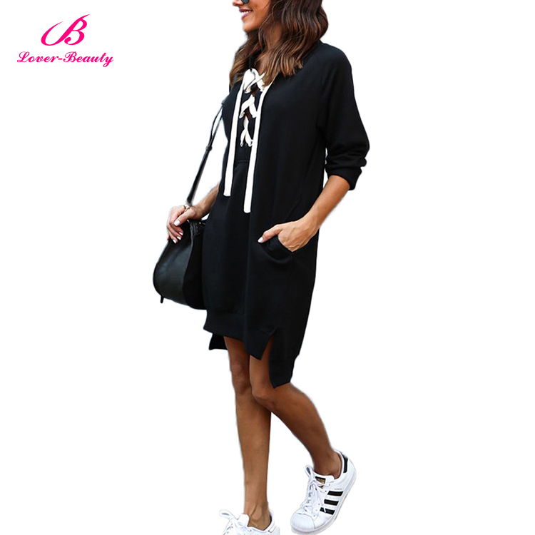 Lover-Beauty Casual Black Lace Up Front Women Mini Fashion Lady Black Dress
