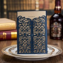 blue laser cut cover wedding invitation card CW5102