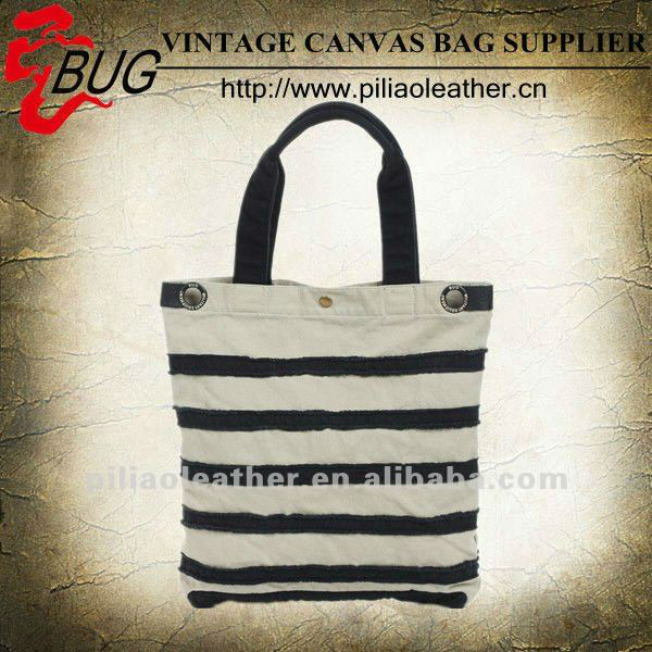 2014 Latest design fashion black white canvas tote bags wholesale
