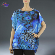 Latest Design Fashion Blouse with Stripe Tunic Digital Print ladies chiffon tops