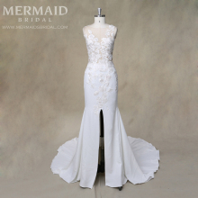 Illusion lace split crepe bohemian mermaid sexy wedding dress