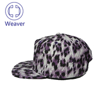 Custom Logo Leopard Print 5 Panel Hat / New Products Leather Plain Snapback Cap