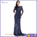 Fashion Foor-Length Blue Long Evening Dress With Paillette
