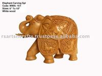 Wooden elephant sculpture animal sculpture