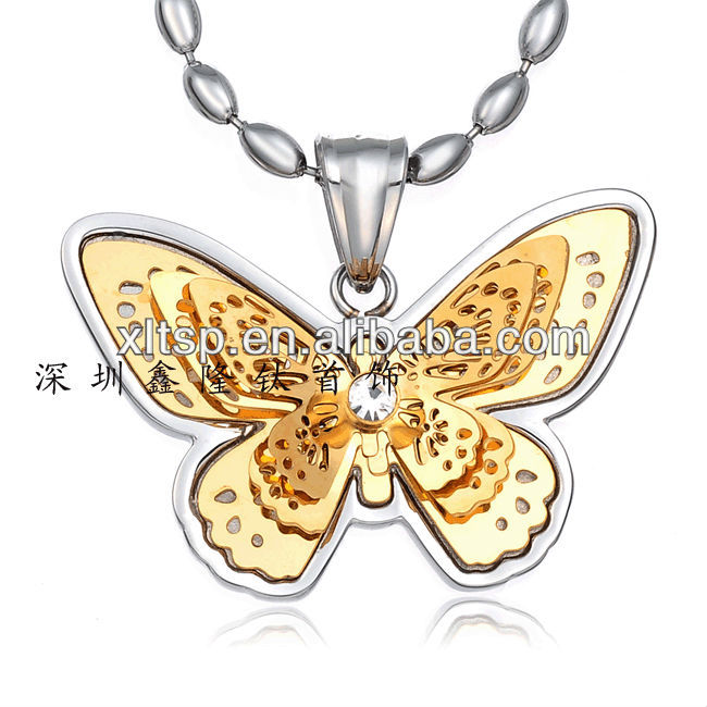 TC49 Hot sale fashion Stainless steel butterfly wing pendant jewelry