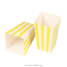 Yellow Striped Popcorn Box Pop Corn Scoop Yellow Favor Box Striped Party Supplies Birthday Party Baby Shower Favor Boxes