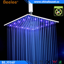 "Beelee Brass 16"" Square LED Color Changing Waterfall Shower Head"