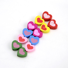 Kids Accessories Photo Frames Designs 16x18mm Love Heart Shaped Wooden Beads