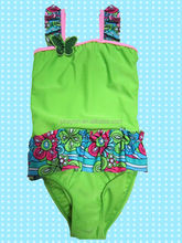 OEM &ODM wide strap designer one piece swimsuit for kids 2-8T
