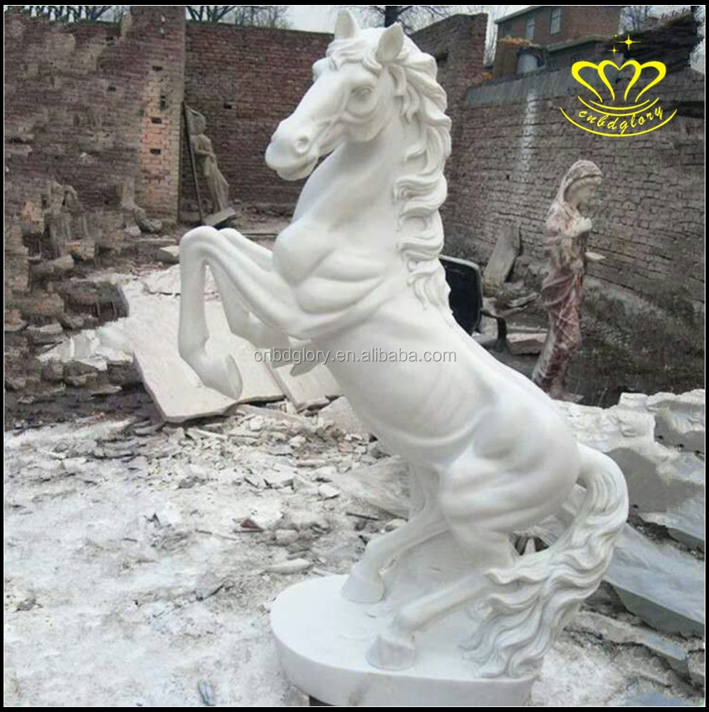 Modern garden large stone white Marble horse statue for sale