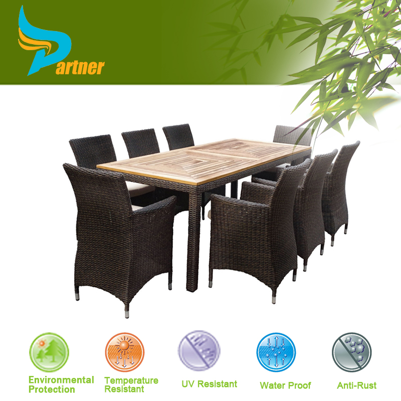 Hot Sell high top patio furniture set outdoor baroque malasian teak wood table top rattan chair dining sets