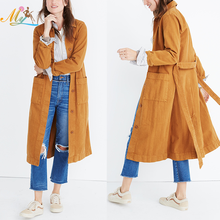 Wholesale long sleeve jacket Belted Long Denim wind coats for Women