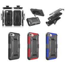 High Impact Hybrid Rubber Rugged Shockproof Belt Clip Holster Case For iPhone 7 Plus
