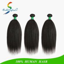 2017 new hair kinky straight Wave kinky hair nature black color best quality virgin human hair ponytail with affordable prices