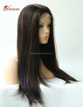 Wholesale virgin hair full lave wig straight full lace Brazilian hair wig highlight 1B/30# colour lace wig soft