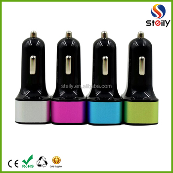 Factory price mini 3 port usb car charger OEM available
