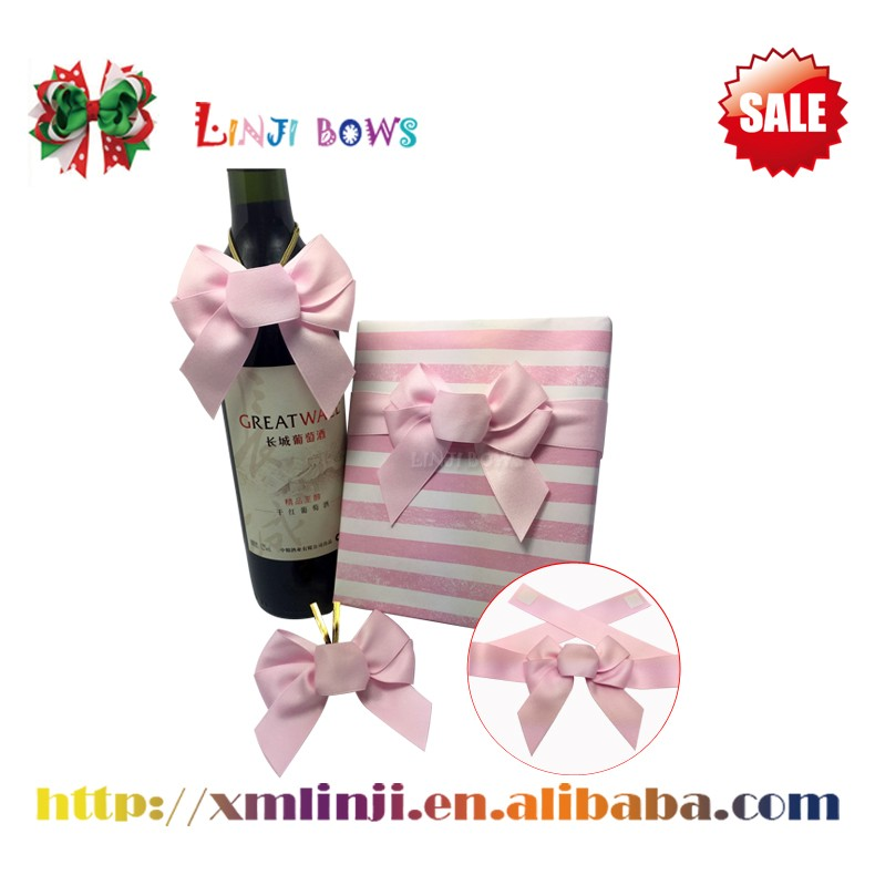 Pink Vine bottle bow,Vine bottle pre-tied satin ribbon bow with logo printed