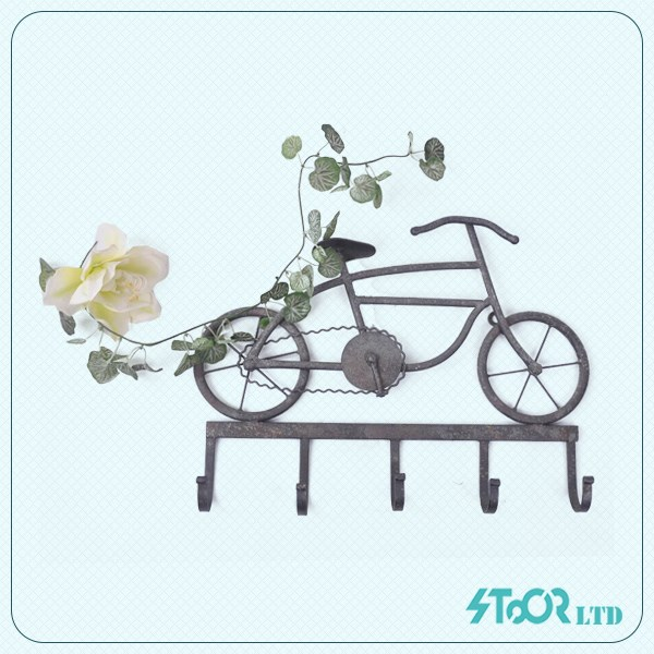Metal bike shape wall art decor with hooks for home decoration