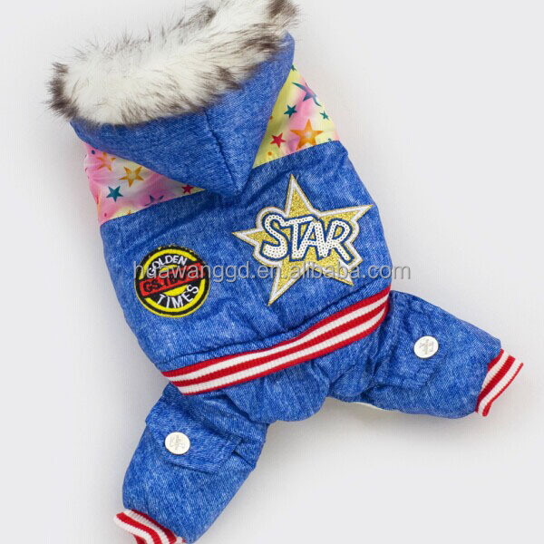 Cool dog clothes, new design pet dog overalls with fur, warm pet clothing