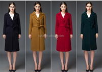 European ladies winter wool coat and customsize long cashmere coat women with waistband