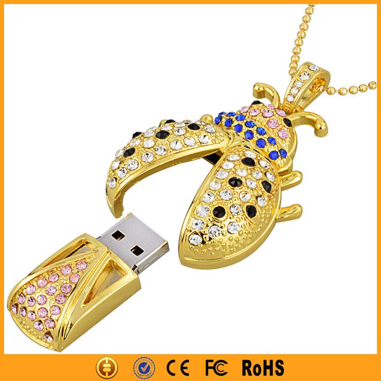 New Necklace Bug Gold Pendant USB 8GB 16GB Crystal Pen Drive