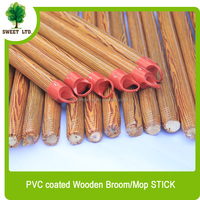 Wood design red colour cap pvc coaed wooden mop stick