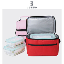 insulated bag for food cooling black fabric lunch bag quilted lunch boxes for adults