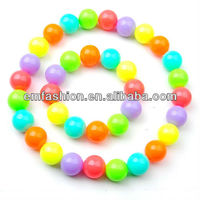 New Arrival 20mm Big Neon/candy Color Grils Teething Plastic Beads Necklace And Bracelet Set Jewelry