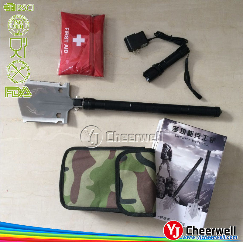 High quality multifunctional camping folding shovel with first aid and flash light